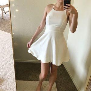 Lulu's backless high neck mini dress in white